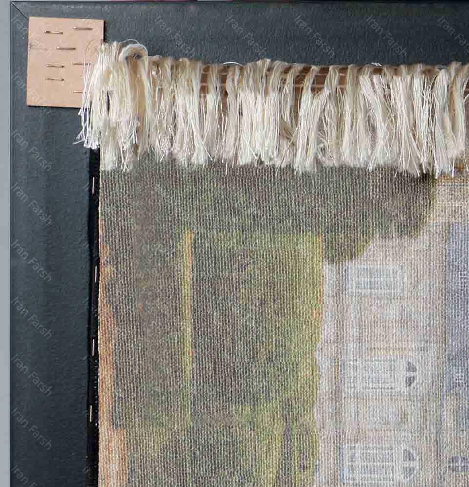 تابلو-فرش-ماشینی-ایران-فرش-برگ-های-نارنجی