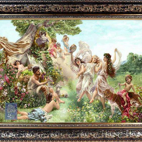 تابلو فرش آفرینش ایران فرش نقاشی فرانسوی رنگ ثابت دوام بالا همراه با قاب کادو هدیه