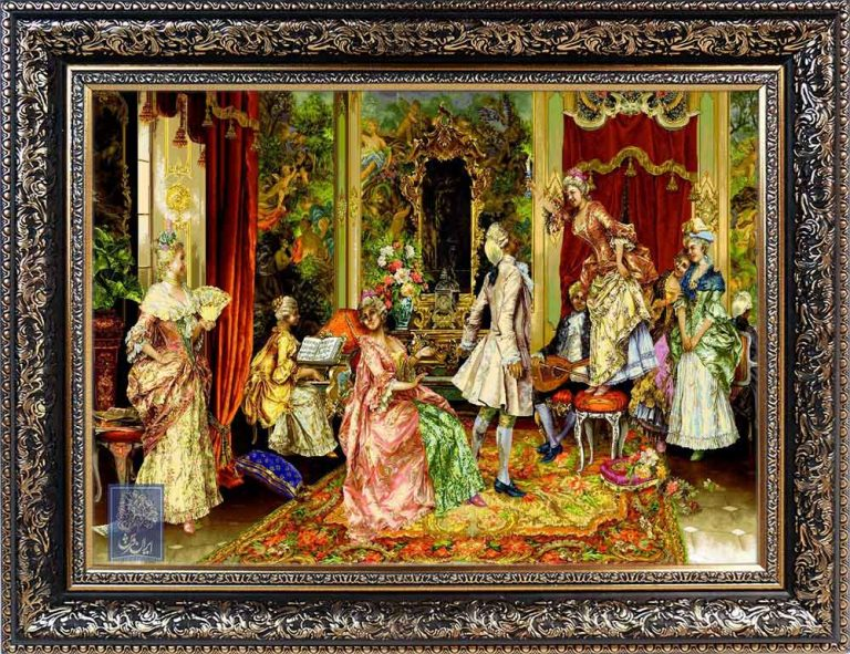تابلو فرش بزم رقص ایران فرش نقاشی فرانسوی رنگ ثابت دوام بالا همراه با قاب کادو هدیه