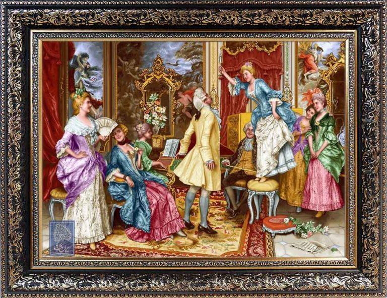 تابلو فرش بزم سازو رقص طرح سنتی ایران فرش نقاشی فرانسوی رنگ ثابت دوام بالا همراه با قاب کادو هدیه