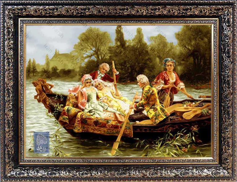 تابلو فرش قایق سواری ایران فرش نقاشی فرانسوی رنگ ثابت دوام بالا همراه با قاب کادو هدیه