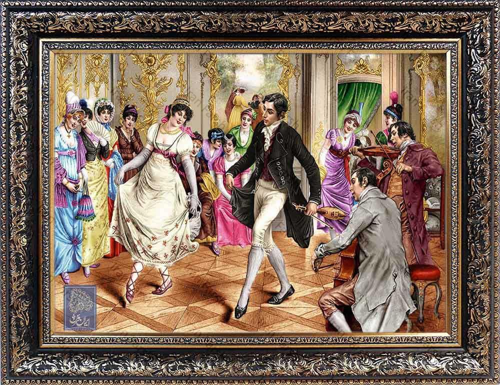 تابلو فرش محفل دوست ایران فرش نقاشی فرانسوی رنگ ثابت دوام بالا همراه با قاب کادو هدیه