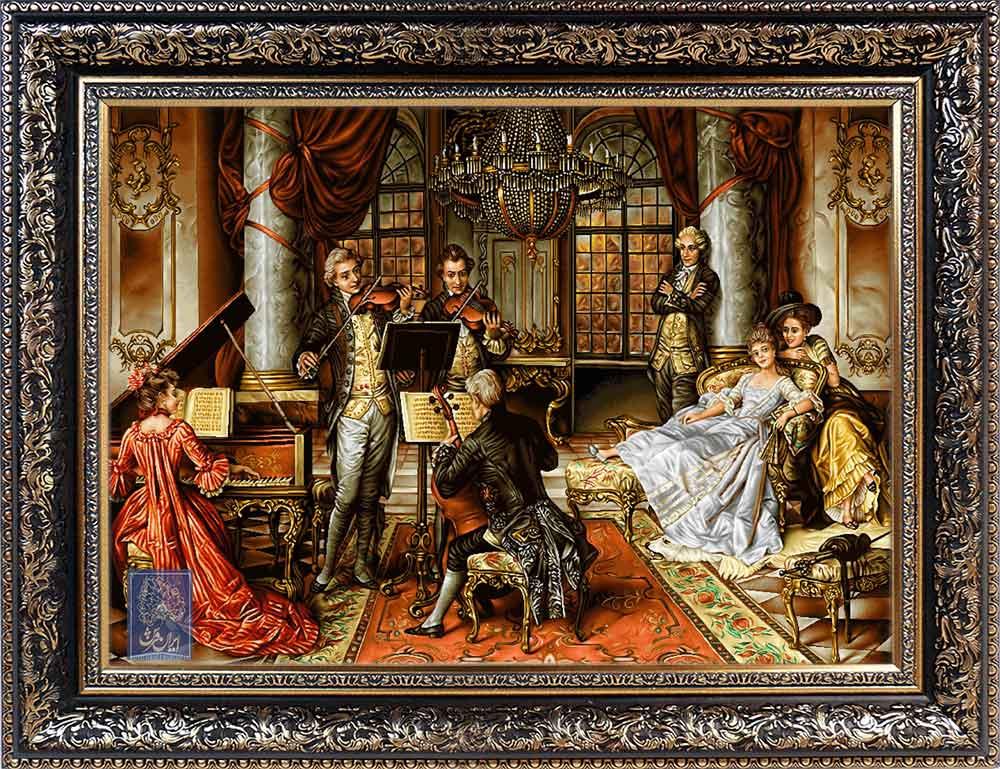 تابلو فرش پرنسس ایران فرش نقاشی فرانسوی رنگ ثابت دوام بالا همراه با قاب کادو هدیه