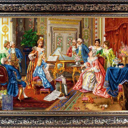 تابلو فرش پیانیست طرح قدیم ایران فرش نقاشی فرانسوی رنگ ثابت دوام بالا همراه با قاب کادو هدیه