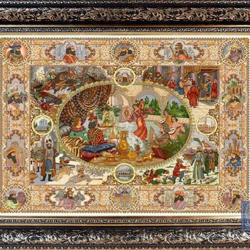تابلو فرشبزم خسرو ایران فرش نقاشی فرانسوی رنگ ثابت دوام بالا همراه با قاب کادو هدیه