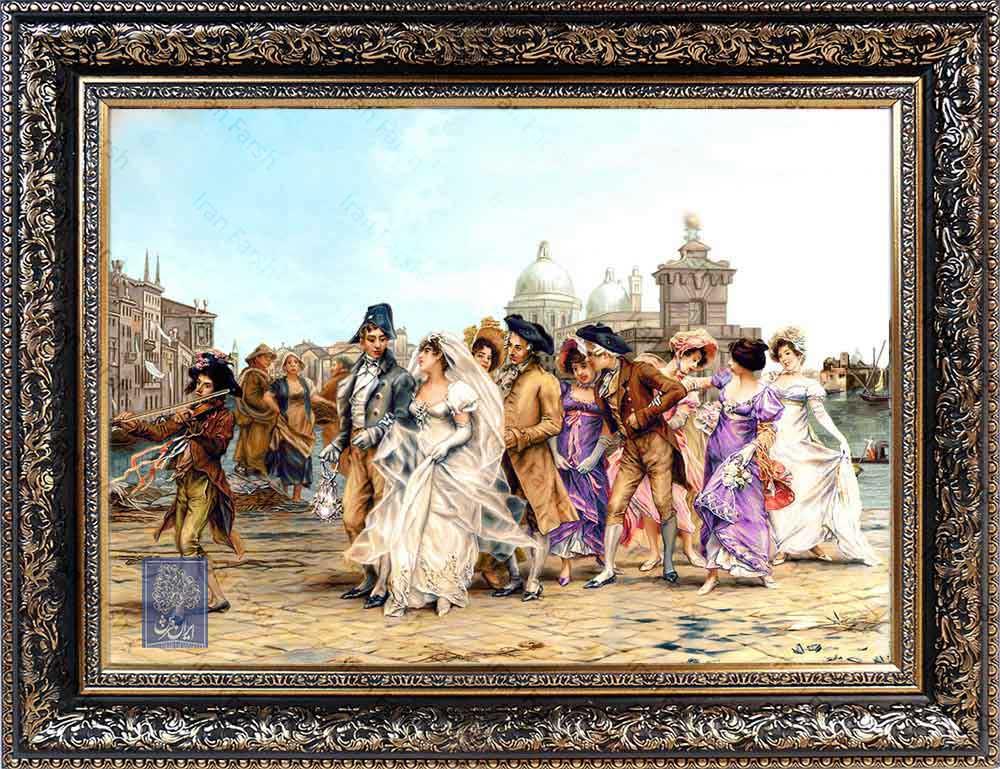 تابلو فرش عروس ونیز ایران فرش نقاشی فرانسوی رنگ ثابت دوام بالا همراه با قاب کادو هدیه