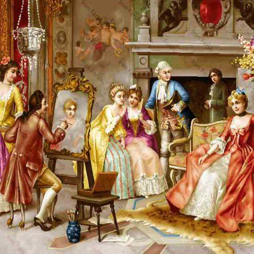 تابلو فرش نقاش باشی ایران فرش نقاشی فرانسوی رنگ ثابت دوام بالا همراه با قاب کادو هدیه