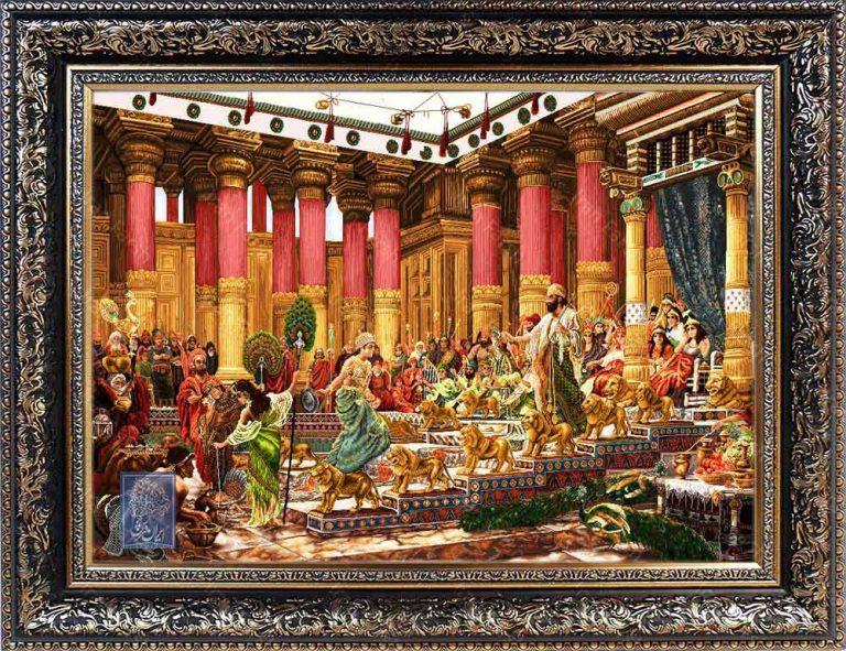 تابلو فرش کوروش ایران فرش نقاشی فرانسوی رنگ ثابت دوام بالا همراه با قاب کادو هدیه